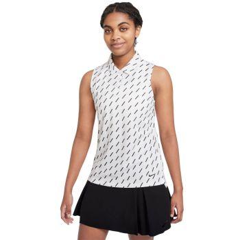 Nike Women's Dri-Fit Victory Sleeveless Golf Polo - White/White/Black