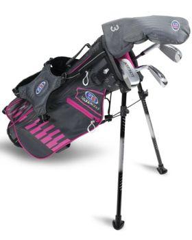 US Kids 2020 UL45 4-Club Stand Bag Set All Graphite - Grey/Pink