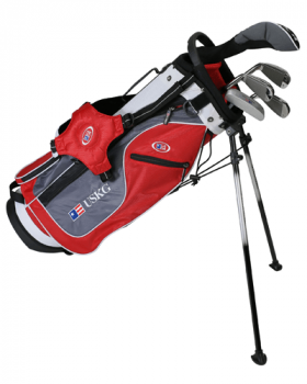 US Kids Golf UL54-U 5 Club All Graphite Stand Bag Set - Red/Grey/White