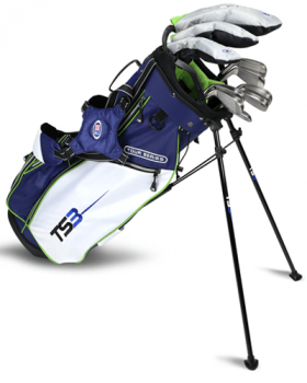 US Kids Golf TS3-57 Club V10 Combo Stand Bag Set - Navy/White/Lime
