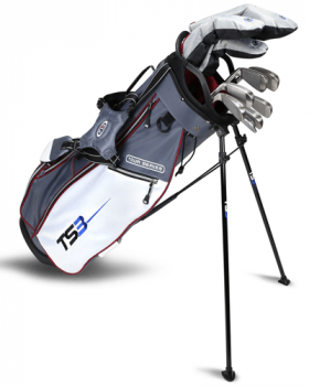 US Kids Golf TS3-60 Club V5 Combo Stand Bag Set Left Hand - Grey/White/Maroon