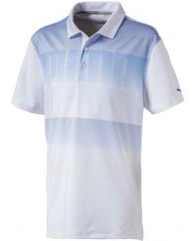Puma Juniors Logo Golf Polo - White/Lapis Blue