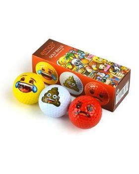 EMOJI 3PK GOLF BALLS (LAUGH, POOP, ANGRY)