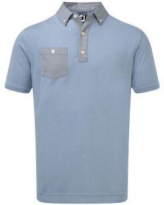 Footjoy Birdseye Jacquard Buttondown Collar Polo - Blue Marlin/Twilight