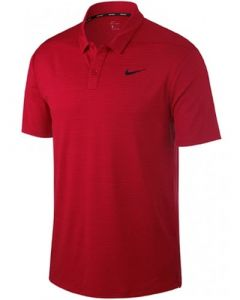 Nike Dri-Fit Tiger Woods Stripe Polo Shirt - Gym Red/Black